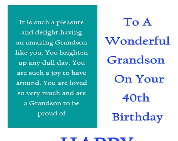 Grandson 40 Birthday Card with removable laminate