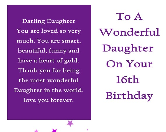 Daughter 16 Birthday Card with removable laminate
