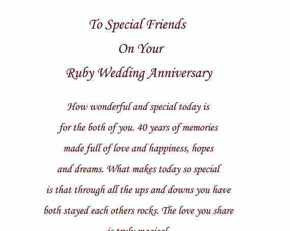 Special Friends Ruby Anniversary Card