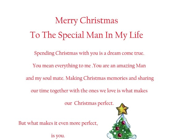 Special Man In My Life Christmas Card Cute
