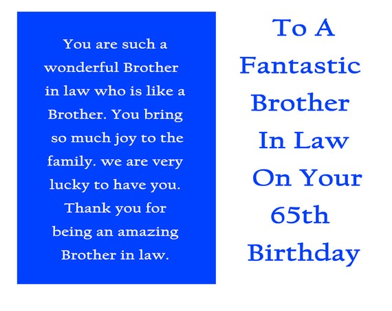 Brother in Law 65 Birthday Card with removable laminate