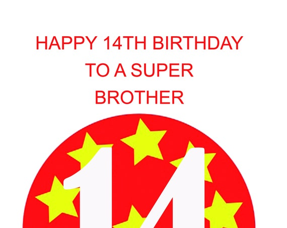 Brother 14th Birthday Card