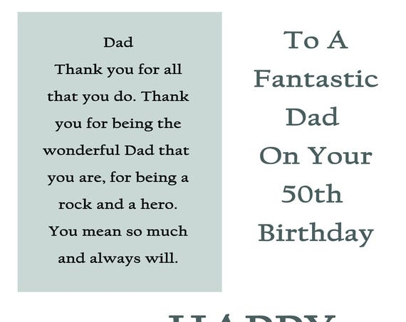 Dad 50 Birthday Card with removable laminate