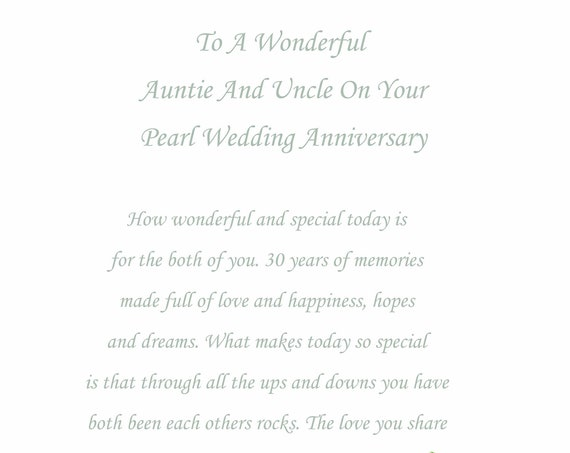 Auntie & Uncle Pearl Anniversary Card