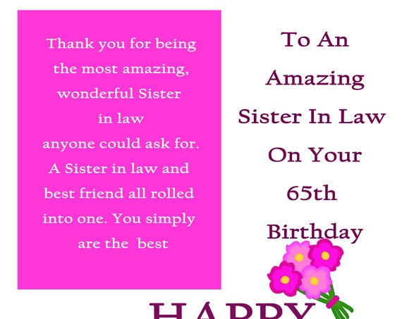 Sister in Law 65 Birthday Card with removable laminate