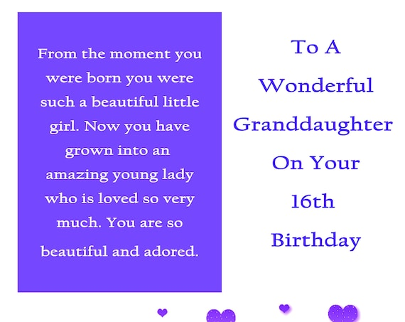 Granddaughter 16 Birthday Card with removable laminate