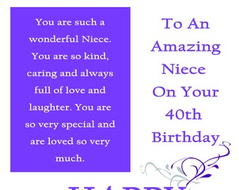 Niece 40 Birthday Card with removable laminate