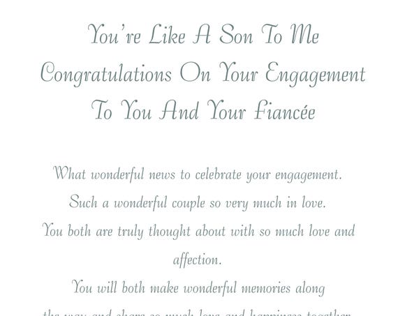 Like a Son & Fiancee Engagement Card