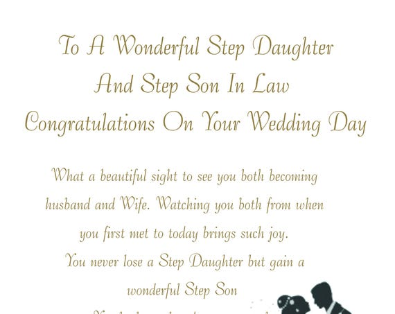 Step Daughter & Step Son in Law Wedding Card