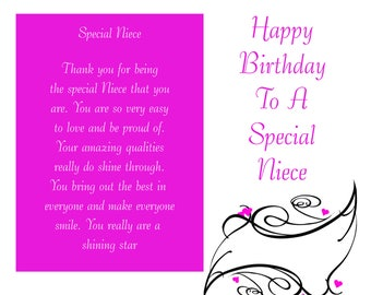 Niece Birthday Card with removable laminate