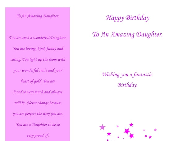 Daughter birthday card  (with removable laminate bookmark )