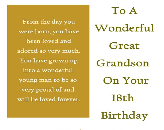 Great Grandson 18 Birthday Card with removable laminate