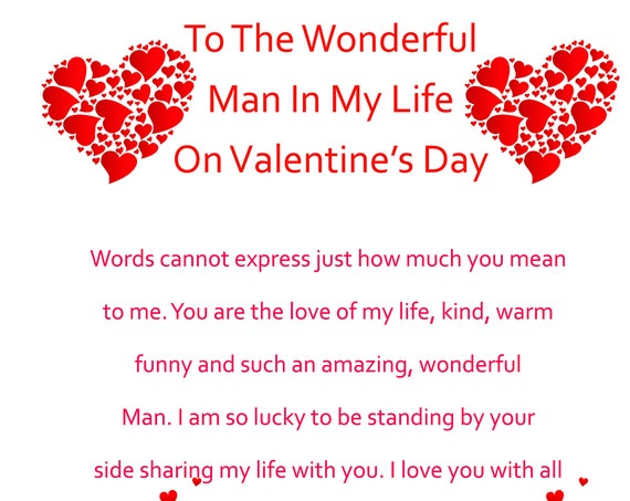 Man in my Life Valentine's Day Card 2