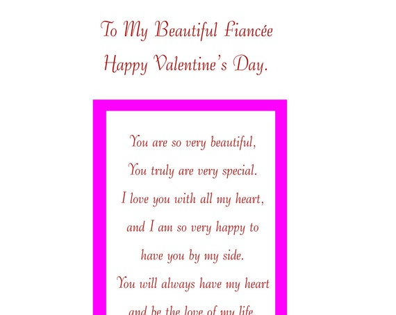 Fiancee Valentine's Card With Removable Laminate female
