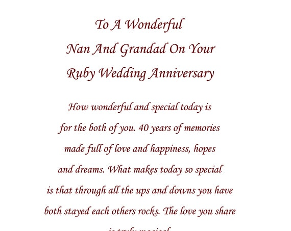 Nan & Grandad Ruby Anniversary Card