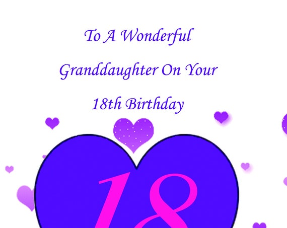 Granddaughter 18th Birthday Card