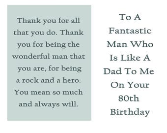 Like A Dad 80 Birthday Card With Removable Laminate