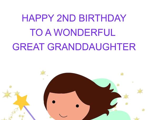 Great Granddaughter 2nd Birthday card