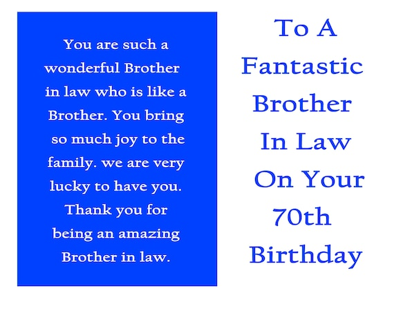 Brother in Law 70 Birthday Card with removable laminate