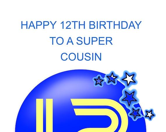 Cousin 12th Birthday Card boy