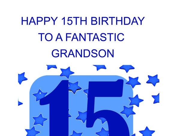 Grandson 15th Birthday Card