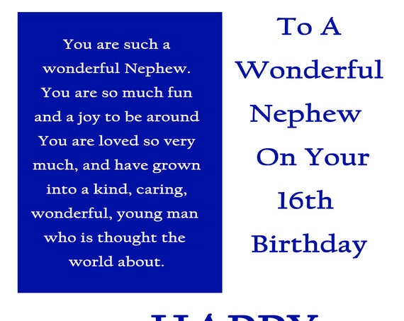 Nephew 16 Birthday Card with removable laminate