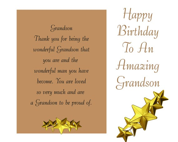 Grandson Birthday Card with removable Laminate