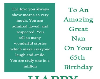 Great Nan 65 Birthday Card with removable lamiate