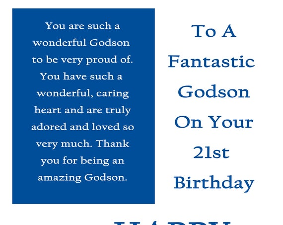Godson 21 Birthday Card with removable laminate