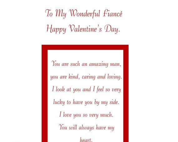 Fiance Valentines Card (male) with removable laminate