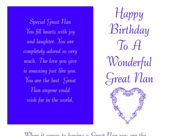 Great Nan Birthday Card with removable laminate