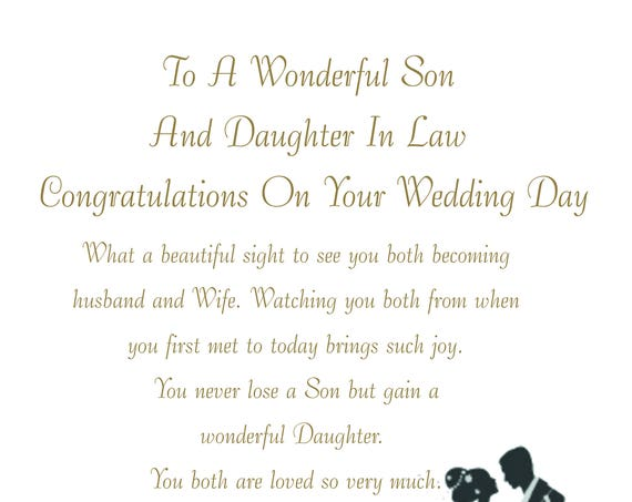 Son & Daughter in Law Wedding Card Large