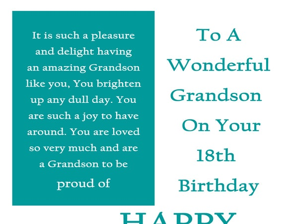 Grandson 18 Birthday Card with removable laminate
