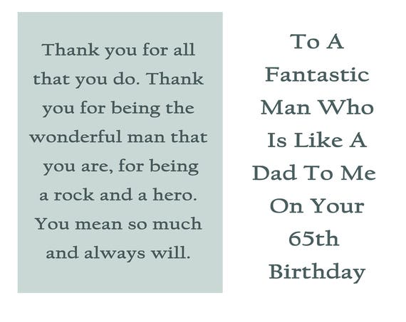 Like a Dad 65 Birthday Card with removable laminate