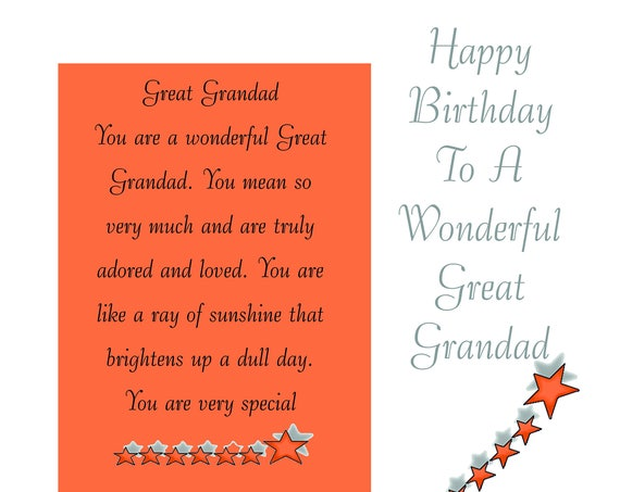 Great Grandad Birthday Card with removable Laminate