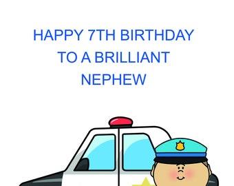 7th Birthday Card Etsy
