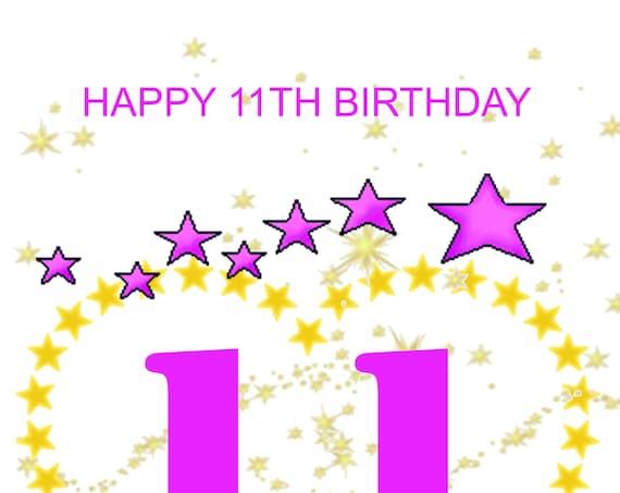 Happy 11th Birthday Card girl