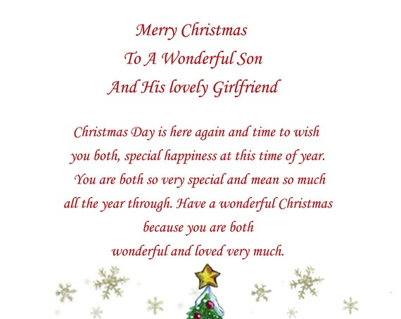 Son And Girlfriend Christmas Card Cute