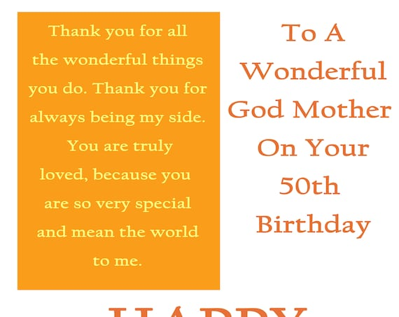 God Mother 50 Birthday Card with removable laminate