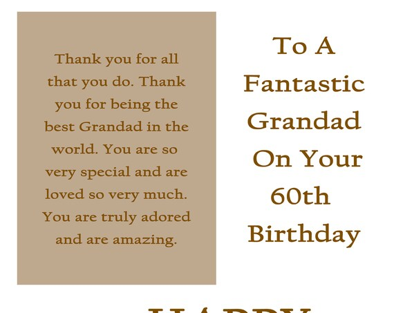 Grandad 60 Birthday Card with removable laminate