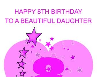 Daughter 8th Birthday Card