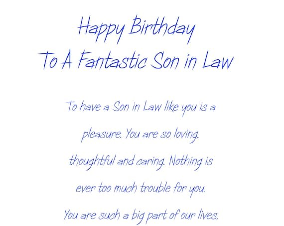 Son in Law Birthday Card