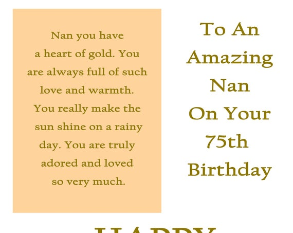 Nan 75 Birthday Card with removable laminate