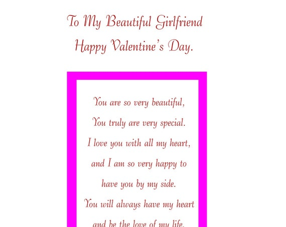 Girlfriend Valentine's card with removable laminate