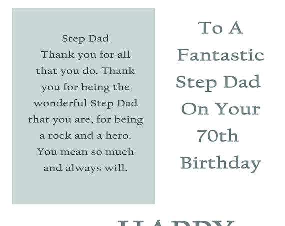 Step Dad 70 Birthday Card with removable laminate