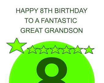 Great Grandson 8th Birthday Card