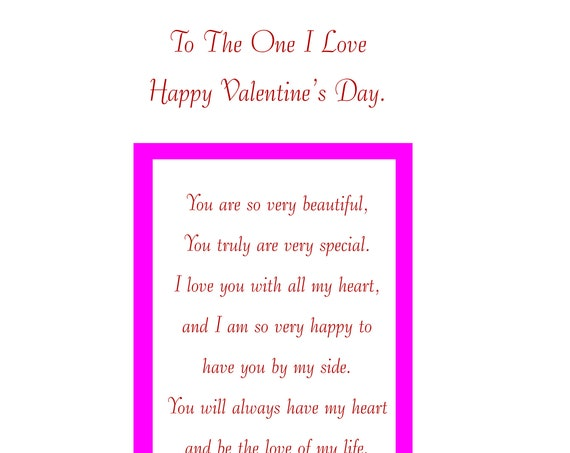 One I Love Valentine's Card Female with removable laminate