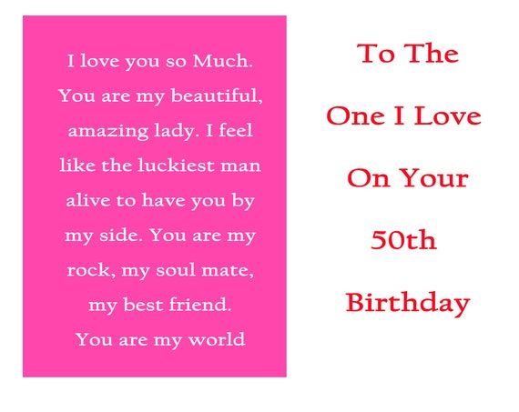 One I Love 50 Birthday Card with removable laminate
