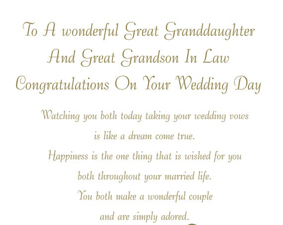 Great Granddaughter & Great Grandson in Law Wedding Card