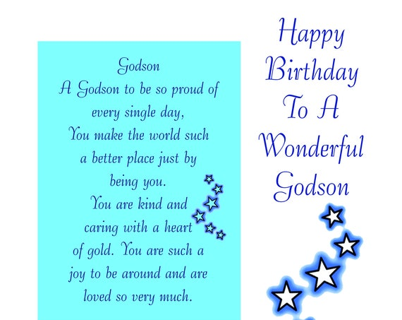 Godson Birthday Card with removable Laminate